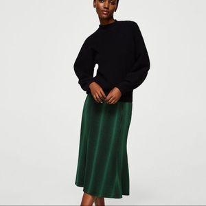 Pleated Stripe Flair Midi Skirt by Mango NWT XS